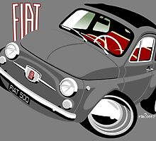 Classic Fiat 500F caricature grey by car2oonz