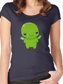 chibi cthulhu - the green monster Women's Fitted Scoop T-Shirt