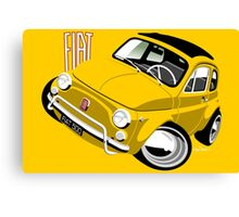 Classic Fiat 500L caricature yellow Canvas Print
