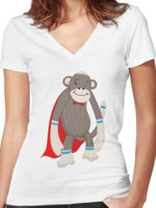 super sock Women's Fitted V-Neck T-Shirt
