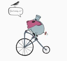 PiGgy riding a penny-farthing One Piece - Short Sleeve