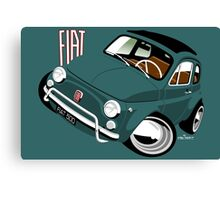 Classic Fiat 500L caricature green Canvas Print