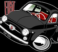 Classic Fiat 500F caricature black by car2oonz