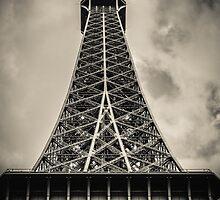 Retro Paris Eiffel Tower With Stormy Sky by mrdoomits