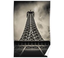 Retro Paris Eiffel Tower With Stormy Sky Poster