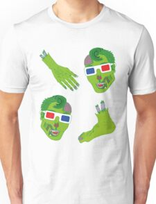 Hipster Zombie Now in 3D Dismembered  Unisex T-Shirt