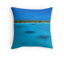Yacht at Direction Island Throw Pillow