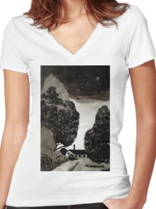 Boundary time Women's Fitted V-Neck T-Shirt