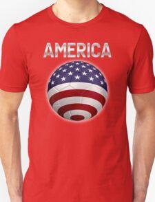 America - American Flag - Football or Soccer Ball & Text 2 T-Shirt