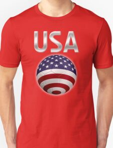 USA - American Flag - Football or Soccer Ball & Text 2 T-Shirt
