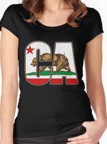 California Bear Flag (Distressed Vintage Design) Women's Fitted Scoop T-Shirt