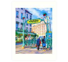 Paris Metro Station - Parisian Street Scene Art Print