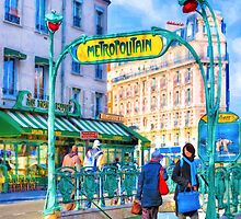Paris Metro Station - Parisian Street Scene by Mark Tisdale
