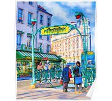 Paris Metro Station - Parisian Street Scene Poster