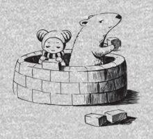 Girl and a polar bear building Kids Tee