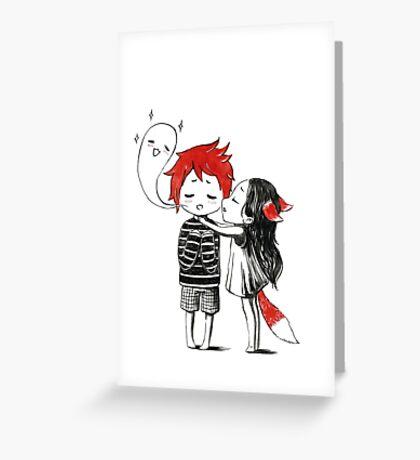 Boy and a fox Greeting Card