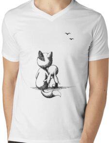 Fox and a rabbit Mens V-Neck T-Shirt