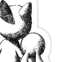 Fox and a rabbit Sticker