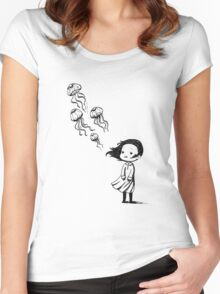 Girl and the jellyfish Women's Fitted Scoop T-Shirt