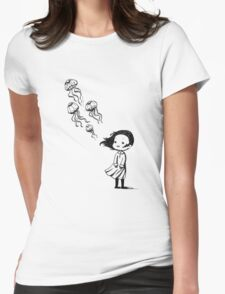 Girl and the jellyfish Womens Fitted T-Shirt