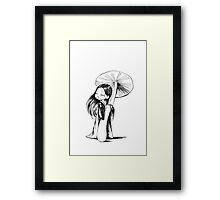 Girl under the mushroom Framed Print