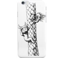 Girl and a monster on a palm tree iPhone Case/Skin