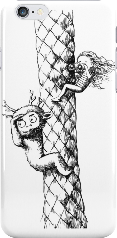 Girl and a monster on a palm tree by freeminds