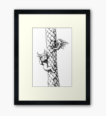 Girl and a monster on a palm tree Framed Print