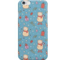 Happy lambs. Christmas pattern. iPhone Case/Skin