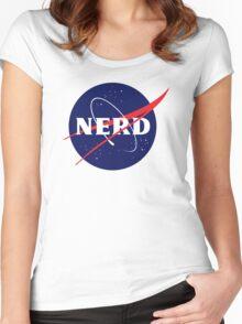 NASA Nerd Logo Parody Women's Fitted Scoop T-Shirt
