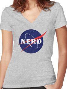 NASA Nerd Logo Parody Women's Fitted V-Neck T-Shirt