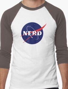 NASA Nerd Logo Parody Men's Baseball ¾ T-Shirt