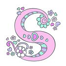 Letter S monogram flower and heart art by Sarah Trett