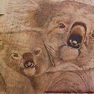 Pyrography: Koala Mother and Baby by aussiebushstick
