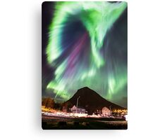 Northern Lights in the city Canvas Print