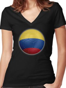 Columbia - Columbian Flag - Football or Soccer 2 Women's Fitted V-Neck T-Shirt