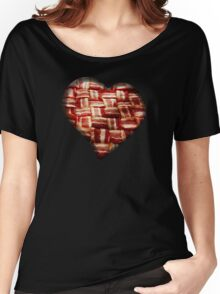 Bacon - Heart - Woven Strips Women's Relaxed Fit T-Shirt