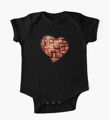 Bacon - Heart - Woven Strips One Piece - Short Sleeve