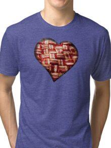 Bacon - Heart - Woven Strips Tri-blend T-Shirt