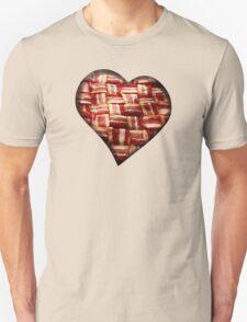 Bacon - Heart - Woven Strips Unisex T-Shirt