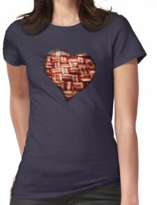 Bacon - Heart - Woven Strips Womens Fitted T-Shirt