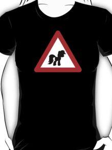 Pony Traffic Sign - Triangular T-Shirt