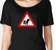 Pony Traffic Sign - Triangular Women's Relaxed Fit T-Shirt