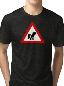 Pony Traffic Sign - Triangular Tri-blend T-Shirt