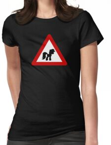 Pony Traffic Sign - Triangular Womens Fitted T-Shirt