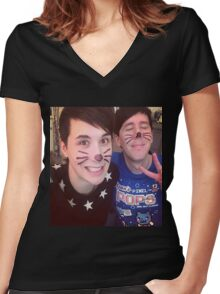 Dan & Phil (requested)  Women's Fitted V-Neck T-Shirt