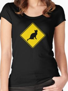 Cat Crossing Traffic Sign - Diamond - Yellow & Black Women's Fitted Scoop T-Shirt