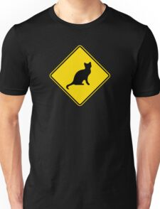Cat Crossing Traffic Sign - Diamond - Yellow & Black Unisex T-Shirt