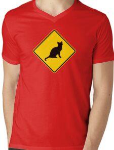 Cat Crossing Traffic Sign - Diamond - Yellow & Black Mens V-Neck T-Shirt