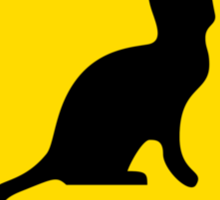 Cat Crossing Traffic Sign - Diamond - Yellow & Black Sticker